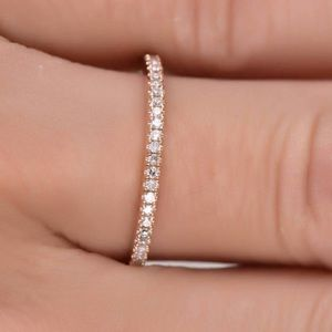 💍18K ROSE GOLD DIAMOND ETERNITY STACKABLE RING💍